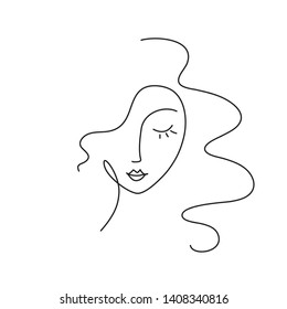 abstract minimal woman face. Continuous line drawing. Portret minimalistic style