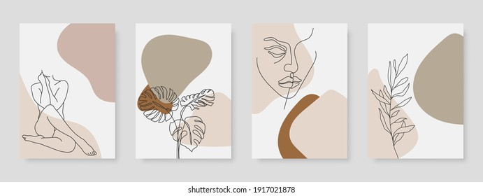 Abstract minimal woman portrait and floral elements line drawing. Vector hand drawn illustration.
