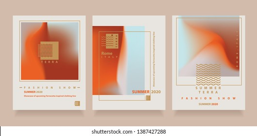 Abstract Minimalist Flyer Layouts with Terracotta Gradients and golden logo marks