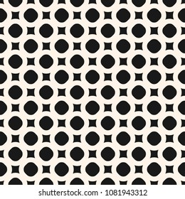 Abstract minimalist geometric background. Black and white seamless pattern with simple geometrical shapes, circles and rounded squares. Modern monochrome texture. Repeat design for decor, prints, web