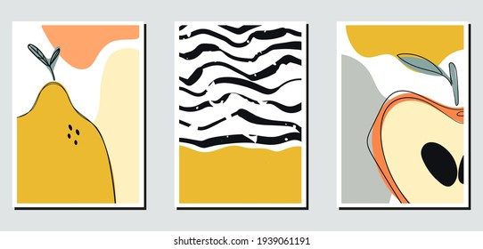 Abstract minimalist hand-drawn illustration for stories, wall decoration, postcard or brochure, cover design. Doodle background contains various shapes, spots, drops, lines. Modern trendy vector art.