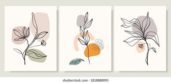 Abstract minimalist line art posters/wall art with doodle organic shapes, modern trendy design, contemporary artwork