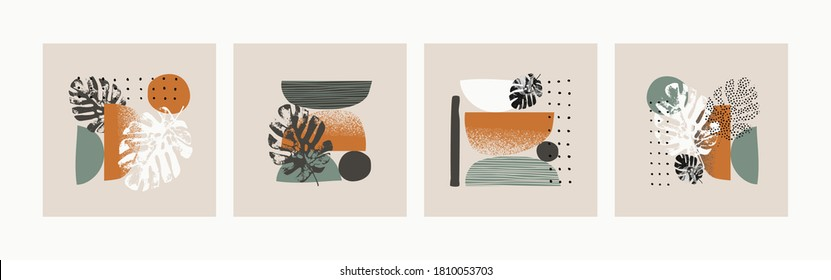Abstract minimalistic cards set. Minimal shapes, doodles, tropical leaves and flower background collection. Vector illustration for trendy design, modern poster, template in minimal flat style