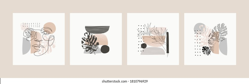 Abstract minimalistic cards set. Woman Portrait one line drawing, minimal shapes, doodles, tropical leaves and flower background. Vector illustration for modern design, poster in minimal flat style