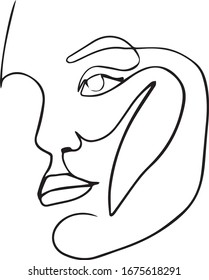 Abstract minimalistic linear sketch. Female face. Vector illustration drawn by hand. One line drawing face. Modern minimalism art, aesthetic contour. Abstract woman portrait minimalist style.