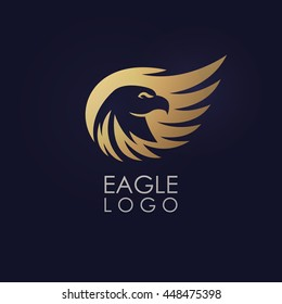 Abstract minimalistic logo of eagle. Universal premium elegant creative symbol.