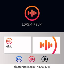 Abstract minimalistic sound music equalizer icon. Vector audio logotype