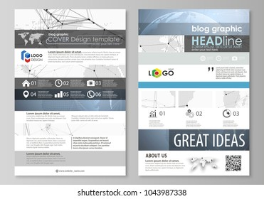 The abstract minimalistic vector illustration of the editable layout of two modern blog graphic pages mockup design templates. World globe on blue. Global network connections, lines and dots.