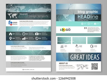 The abstract minimalistic vector illustration of the editable layout of two modern blog graphic pages mockup design templates. Chemistry pattern, connecting lines and dots. Medical concept.