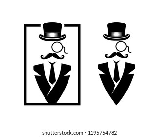 Abstract Mister with Classic Hat, Glasses, Suit and Mustache Sign Symbol Icon Square logo Vector Set