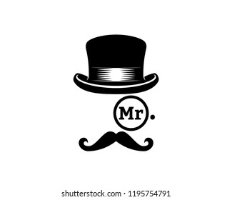 Abstract Mister with Classic Hat, Glasses and Mustache Sign Symbol Icon logo Vector
