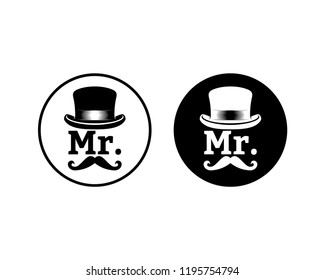 Abstract Mister with Classic Hat and Mustache Sign Symbol Icon Circle logo Vector Set