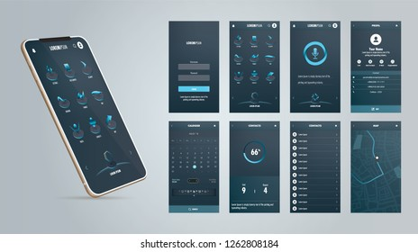 Abstract mobile application design with futuristic colors. Screen Designs: Login, Menu, Voice Command, Profil, Map, Calender.