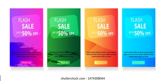 abstract mobile for flash sale banners. Sale banner template design, Flash sale special offer set - vector