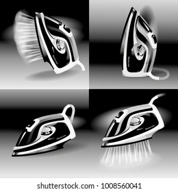 Abstract model of a modern electric iron with steam function. Set. Different positions of iron. Black and White