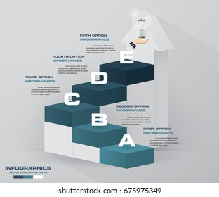 Abstract modern 5 step with stair infographics/timeline. EPS10