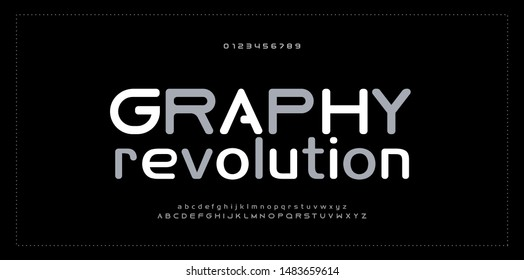 Abstract modern alphabet and number fonts. Typography electronic digital game music future creative font design concept. vector illustraion