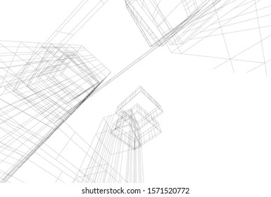 abstract modern architecture 3d illustration