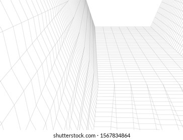 Abstract modern architecture building 3d
