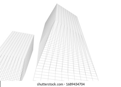 abstract modern architecture building  3d vector illustration