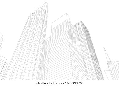 Abstract modern architecture, city buildings 3d illustration