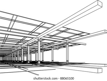 Abstract modern architecture design in 3D wire-frame