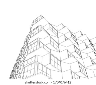 abstract modern architecture modular facade 3d illustration