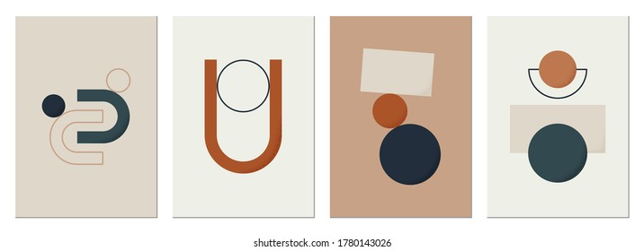 Abstract modern background. Backgrounds with geometric balancing shapes. Boho wall decor. Modern geometric compositions and forms. Posters with abstract shapes, vector
