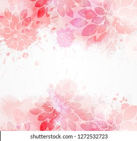 Abstract modern background with abstract florals on watercolor splashes. Light pink colored