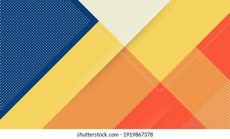 Abstract Modern Background with Memphis Diagonal Lines Element and Soft Blue Orange Pastel Colors