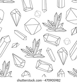 Abstract modern background with polygon, Seamless vector pattern with crystals. Black and white illustration