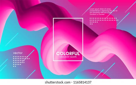 Abstract Modern Background with Trendy Vibrant Gradient. Flow Shapes in Pink and Blue Colors. 3d Background with Wave Liquid for Flyer, Poster. Bright Vector Background with Gradient Fluid Elements.