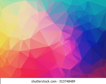 Abstract modern background with triangles in bright rainbow colors. Vector illustration. Background polygon for brochures, covers, flyers, invitations, presentations.