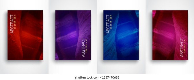 Abstract modern backgrounds. Modern colorful flow set of vector design template. Future geometric gradient background. Set of 4 Vector templates for placards, banners, flyers, presentations. Size A4.