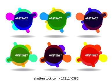 Abstract modern badge template meta-ball style banner, Set of 6, Vector EPS