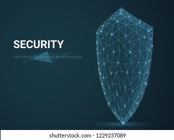 Abstract modern business background depicting security with stars and lines in shape of a shield on blue background.