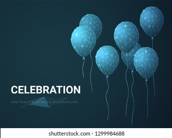 Abstract modern business background depicting celebration with stars and lines in shape of inflatable balloons on blue background.