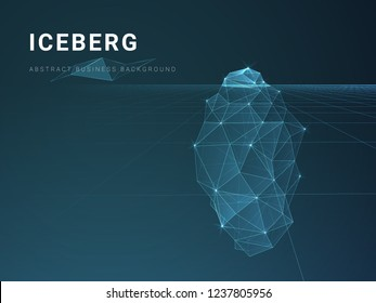 Abstract modern business background vector with stars and lines in shape of an iceberg on blue background.