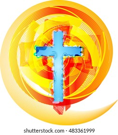Abstract modern Christianity cross in fire or flame colors, symbol of the Holy Spirit