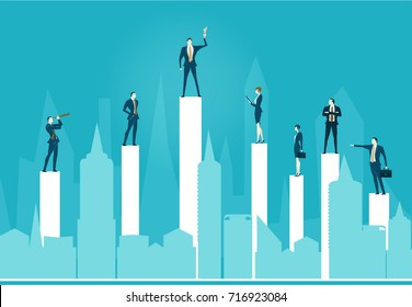 Abstract modern city and business people staying on the top of the growth charts with the leader holding the trophy up, representing success, control, coordination and teamwork.