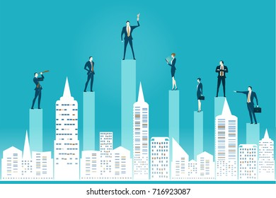 Abstract modern city and business people staying on the top of the growth charts, representing success, control, coordination and teamwork. Business concept illustration