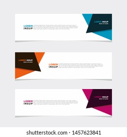 Abstract modern collection of web banner template. Abstract web design banner template isolated on dark grey background EPS 10 with abstrac colors combination