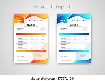 Abstract modern colorful business invoice template. Quotation Invoice Layout Template Paper Sheet Include Accounting, Price, Tax, and Quantity. With color variation Vector illustration of Finance.
