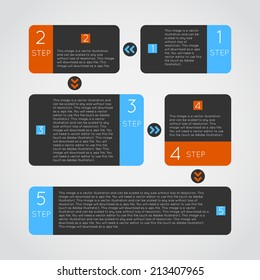Abstract modern dark infographics options banner steps set with icons. Vector illustration for games presentations, ui tablets, smart phones.