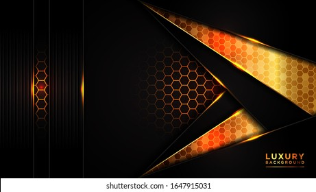 Abstract modern dark luxury background. Dark gray overlap hexagon mesh triangle gold line design modern futuristic background vector illustration. Creative and Modern design vector illustration.
