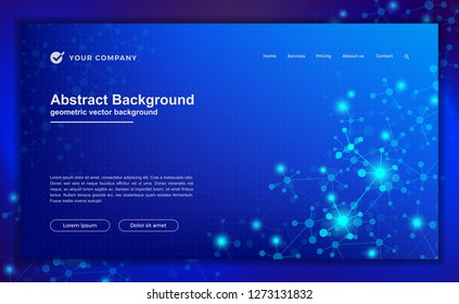 Abstract, modern dynamic background for your landing page design. Technology, science, futuristic background for for website designs.