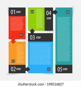 Abstract modern flat dark infographics options banner steps set. Vector illustration for presentation, ui, smartphones, web and games.