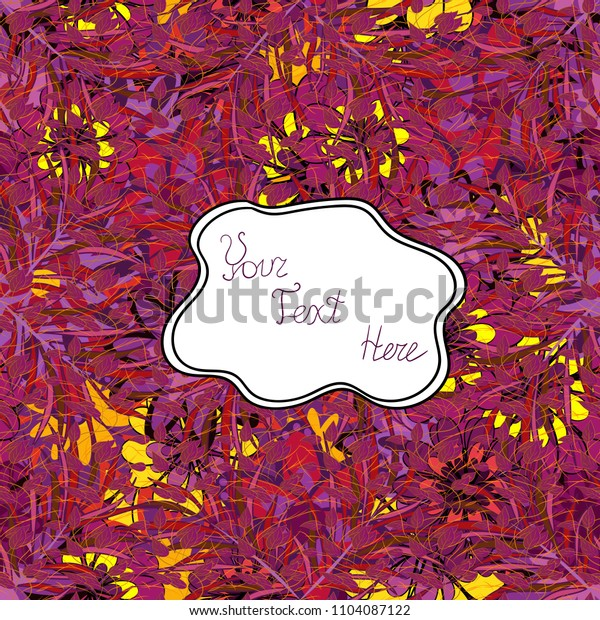 Abstract modern floral vector background. Vector illustration. Seamless pattern with leaves on a purple, white and red background.