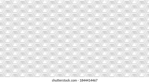 Abstract modern geometric 3d white background. Geometry line hexagonal seamless pattern for surface design. white seamless honeycomb background. Closeup 3d white texture. Vector illustration EPS 10.