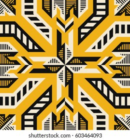 abstract modern geometric native pattern on yellow